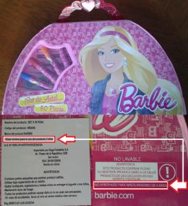 """Opecu: """"Venta inadecuada de estuche Barbie de 50 piezas con plomo a niños de 3 años en Saga Falabella"""""""